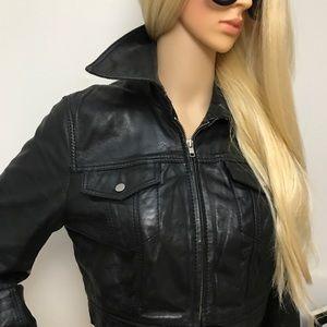 Iceberg Leather crop jacket